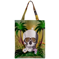 Funny Skull With Sunglasses And Palm Zipper Classic Tote Bags