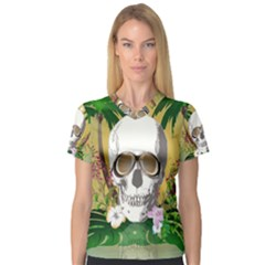 Funny Skull With Sunglasses And Palm Women s V-Neck Sport Mesh Tee
