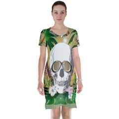 Funny Skull With Sunglasses And Palm Short Sleeve Nightdresses