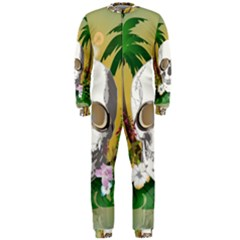 Funny Skull With Sunglasses And Palm Onepiece Jumpsuit (men)