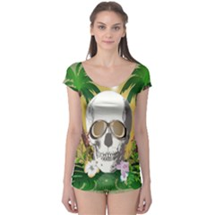 Funny Skull With Sunglasses And Palm Short Sleeve Leotard