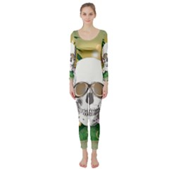 Funny Skull With Sunglasses And Palm Long Sleeve Catsuit