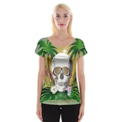 Funny Skull With Sunglasses And Palm Women s Cap Sleeve Top
