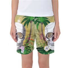 Funny Skull With Sunglasses And Palm Women s Basketball Shorts