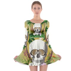 Funny Skull With Sunglasses And Palm Long Sleeve Skater Dress