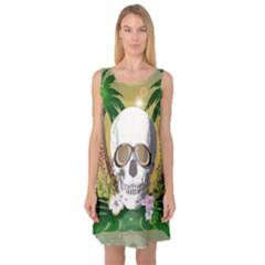 Funny Skull With Sunglasses And Palm Sleeveless Satin Nightdresses