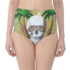 Funny Skull With Sunglasses And Palm High-Waist Bikini Bottoms