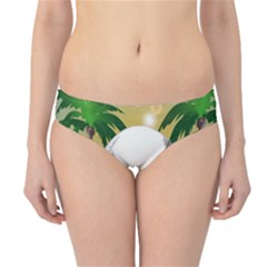 Funny Skull With Sunglasses And Palm Hipster Bikini Bottoms