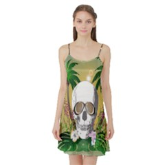 Funny Skull With Sunglasses And Palm Satin Night Slip