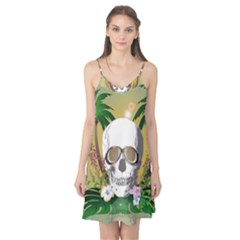 Funny Skull With Sunglasses And Palm Camis Nightgown