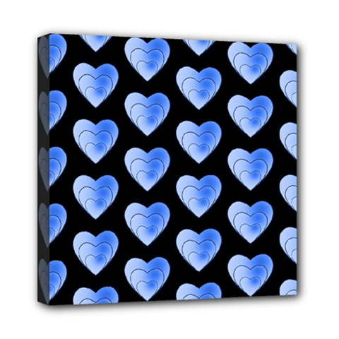 Heart Pattern Blue Mini Canvas 8  x 8