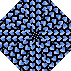 Heart Pattern Blue Folding Umbrellas