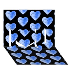 Heart Pattern Blue I Love You 3D Greeting Card (7x5)