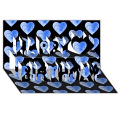 Heart Pattern Blue Happy Birthday 3d Greeting Card (8x4)