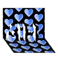 Heart Pattern Blue GIRL 3D Greeting Card (7x5)