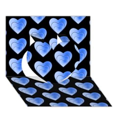 Heart Pattern Blue Heart 3d Greeting Card (7x5)