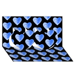 Heart Pattern Blue Twin Hearts 3d Greeting Card (8x4)