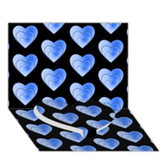 Heart Pattern Blue Heart Bottom 3D Greeting Card (7x5)