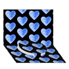 Heart Pattern Blue Circle Bottom 3D Greeting Card (7x5)