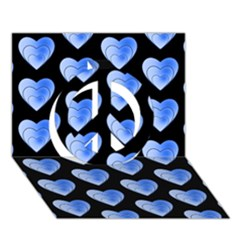 Heart Pattern Blue Peace Sign 3D Greeting Card (7x5)