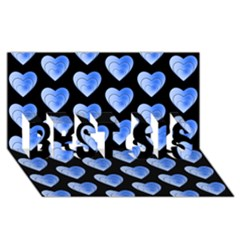 Heart Pattern Blue BEST SIS 3D Greeting Card (8x4)