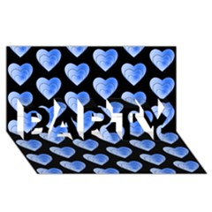 Heart Pattern Blue PARTY 3D Greeting Card (8x4)