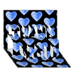 Heart Pattern Blue THANK YOU 3D Greeting Card (7x5)