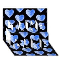 Heart Pattern Blue TAKE CARE 3D Greeting Card (7x5)
