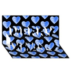 Heart Pattern Blue Merry Xmas 3D Greeting Card (8x4)
