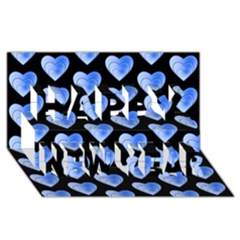 Heart Pattern Blue Happy New Year 3D Greeting Card (8x4)