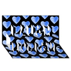 Heart Pattern Blue Laugh Live Love 3D Greeting Card (8x4)