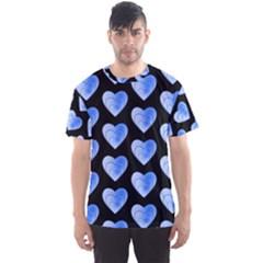 Heart Pattern Blue Men s Sport Mesh Tees