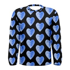 Heart Pattern Blue Men s Long Sleeve T-shirts