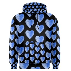 Heart Pattern Blue Men s Pullover Hoodies