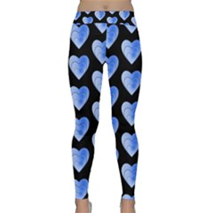 Heart Pattern Blue Yoga Leggings