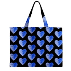 Heart Pattern Blue Zipper Tiny Tote Bags