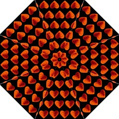 Heart Pattern Orange Straight Umbrellas