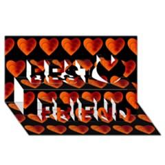 Heart Pattern Orange Best Friends 3d Greeting Card (8x4)