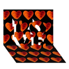 Heart Pattern Orange Love 3d Greeting Card (7x5)