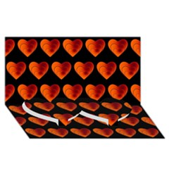 Heart Pattern Orange Twin Heart Bottom 3d Greeting Card (8x4)
