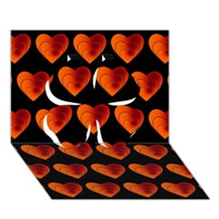 Heart Pattern Orange Clover 3d Greeting Card (7x5)