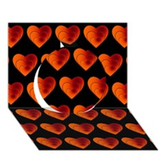 Heart Pattern Orange Circle 3d Greeting Card (7x5)