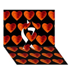 Heart Pattern Orange Ribbon 3D Greeting Card (7x5)