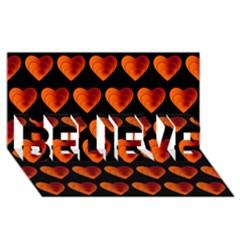 Heart Pattern Orange Believe 3d Greeting Card (8x4)