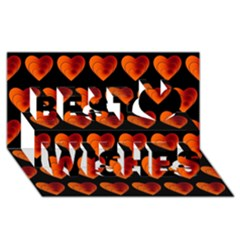 Heart Pattern Orange Best Wish 3d Greeting Card (8x4)