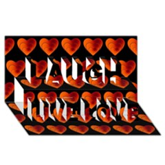 Heart Pattern Orange Laugh Live Love 3D Greeting Card (8x4)