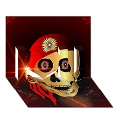 Funny, happy skull I Love You 3D Greeting Card (7x5)