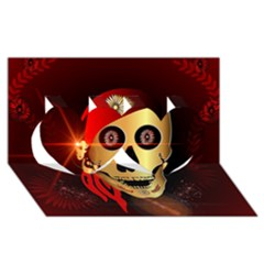 Funny, happy skull Twin Hearts 3D Greeting Card (8x4)