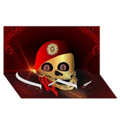 Funny, happy skull Twin Heart Bottom 3D Greeting Card (8x4)