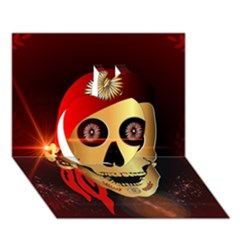 Funny, happy skull Apple 3D Greeting Card (7x5)